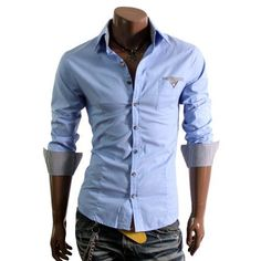 Doublju Mens Casual Patched Dress Shirts(DU063) $21.99 - $29.99