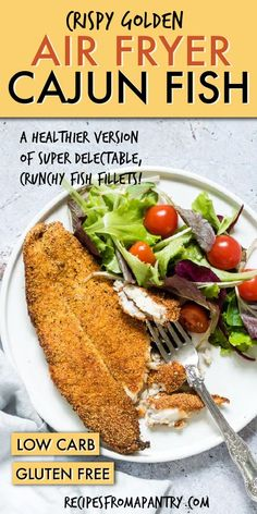Crispy Golden Air Fryer Fish is perfectly crunchy on the outside and delightfully light and flaky on the inside. Full of zesty Cajun flavours, this is just the thing to serve for a healthy lunch! Click through to get this awesome recipe! Air Fryer Fish Recipes, Air Frier Recipes, Air Fryer Dinner Recipes, Fried Fish Recipes, Seafood Recipes, Ww Recipes, Healthy Recipes, Recipies, Oven Recipes