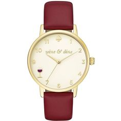 Kate Spade Wine And Dine Metro Watch (645 BRL) ❤ liked on Polyvore featuring jewelry, watches, accessories, glass jewelry, kate spade watches, leather-strap watches, polish jewelry and kate spade