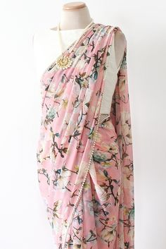 Floral Pink Saree - Modern and Classic - Poppy Lane