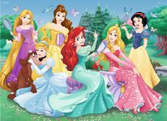 Cinderella, Ariel, Aurora, Snow White, Belle and Rapunzel Disney Princesses