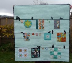 """Lovely little """"Bird on a Wire"""" quilt by Carla Fawcett of Grace and Favour. I don't normally love applique, but this is so well done! (Enlarge pin for full effect.)"""