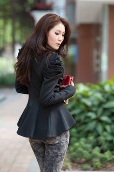 1 shoulder black dress jackets