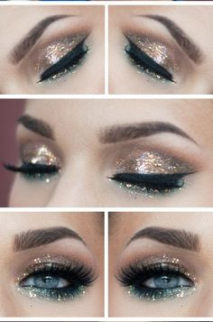Sparkly eyes Guide make up eyemakeup New Year's Makeup, Love Makeup, Makeup Inspo, Makeup Tips, Hair Makeup, Makeup Ideas, Glam Makeup, Kesha Makeup, Disco Makeup
