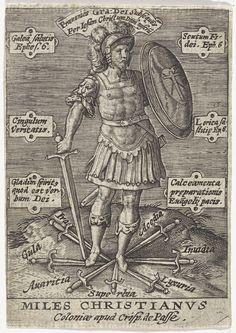 Hieronymus Wierix | De Christelijke Ridder, Hieronymus Wierix, Anonymous, Crispijn van de Passe (I), 1589 - 1611 | Allegorische voorstelling met de Christelijke Ridder, met zwaard en schild in de handen. Hij staat op zwaarden die de zeven hoofdzonden symboliseren. Aan weerszijden tabletten met Bijbelcitaten uit Ef. 6 in het Latijn.