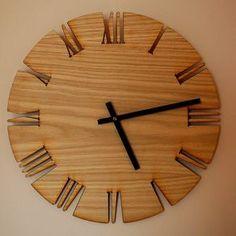 Home Wall Decor - Wall Clock: Roman White Oak by Shamir Colloff Wall Clock Wooden, Wood Clocks, Wood Wall, Wooden Wall Decor, Diy Clock, Clock Decor, Clock Ideas, Wall Clock Drawing, Mur Diy