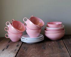 Pink Melmac Dishes Vintage Set White Melamine Cups Prolon Plastic Retro Dinnerware Plate Saucers Bowls Somerset USA Girls Toys Tea