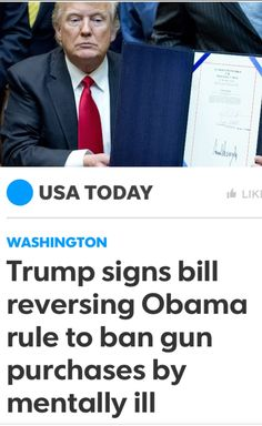"""This is Rich. A Mentally Unstable """"Son Of a Bitch"""" signs a bill that allows millions of Equally Mentally Unstable Sick Bastards to buy guns. More Killings Inevitable."""