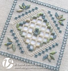 Learn the basics of Hardanger embroidery with this pretty blue and green Hardanger panel. When finished, the panel could be applied to a bag or a book cover, or made into a pincushion, biscornu, doily, sachet or needle book. Each of the stitches will be taught, so absolute beginners are completely catered for, though it will probably help if you have some counted stitching experience. More