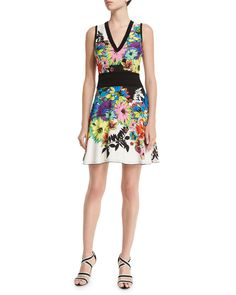 Flower Power Sleeveless Dress, Black/White/Blue, Size: 42 (6 US) - Roberto Cavalli