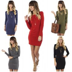 """You can't go wrong in the NEW """"round the clock dress red/navy/olive/black/grey"""" ($22.99) available in store at #4thandocean and online at www.sophieandtrey.com! Get yours before they go!! #sophieandtrey #ootd #fashion #boutique #love #shop #dress"""