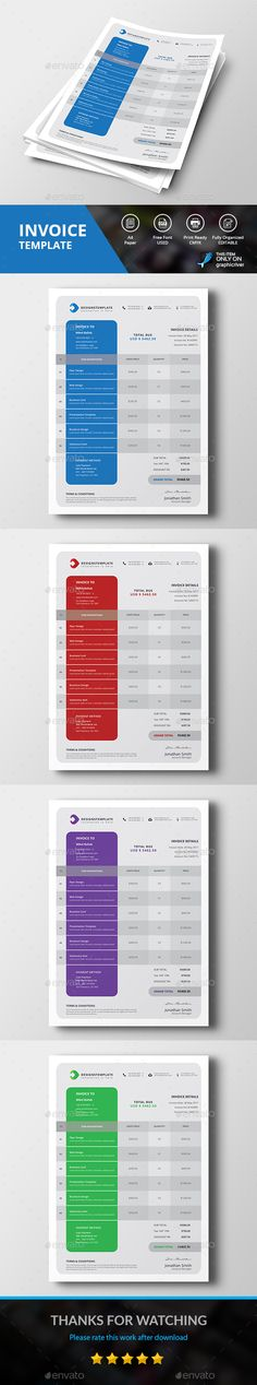 #Invoice - #Proposals & Invoices #Stationery Download here:  https://graphicriver.net/item/invoice/19530326?ref=alena994