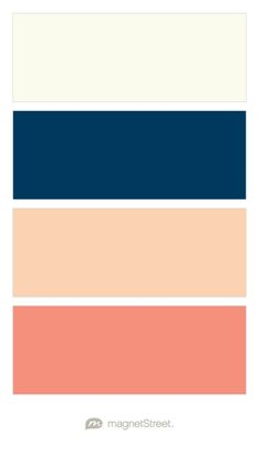Ivory, Navy, Peach, and Coral Wedding Color Palette - custom color palette…