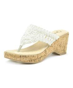 Look what I found on #zulily! White Persia Wedge Flip-Flop by Grazie #zulilyfinds