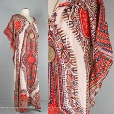 vtg 70s Angel Sleeve India dress Global Boho Gypsy Hippy long Festival Dress M-L  £50.61 (15B)