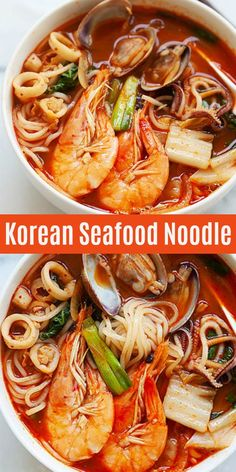Korean Seafood Noodle Soup Jjamppong spicy Korean seafood noodle soup loaded with shrimp clams squid and scallops This is so good and much better than restaurants Korean Soup Recipes, Seafood Soup Recipes, Squid Recipes, Chicken Soup Recipes, Asian Recipes, Ethnic Recipes, Asian Desserts, Chinese Desserts, Chinese Food
