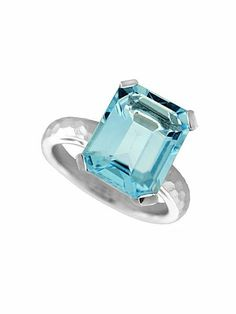Emerald Cut Blue Topaz Hammered Ring #houseoffraser
