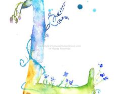 Etsy の Letter A  Watercolor Monogram  Flower by MilkandHoneybread
