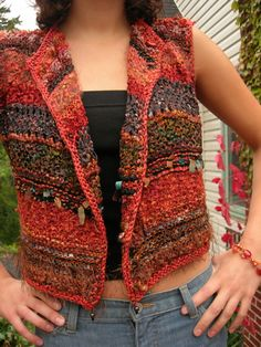Sunset Bolero Vest - pattern by Jane Thornley. Check out these patterns all you talented knitters! Beautiful.
