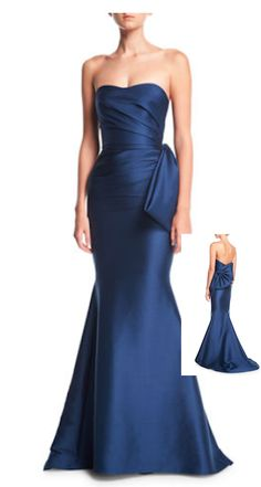 Badgley Mischka Collection Strapless Sweetheart Mikado Satin Evening Gown w/ Bow Detail Shrug For Dresses, Next Dresses, Dress Up, Prom Dresses, Formal Dresses, Long Dresses, Formal Wear, Blue Dresses, Designer Evening Gowns