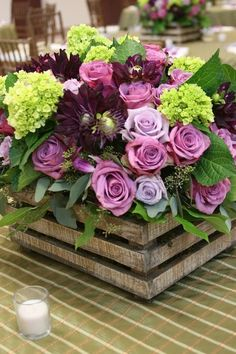 Flowers in a milk crate