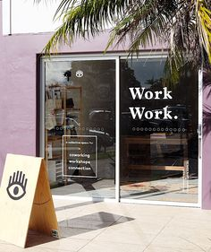 A co-working space where we come together to create an energised gathering that encourages and inspires creativity in work and life. Cafe Shop Design, Shop Front Design, Store Design, Window Signage, Wayfinding Signage, Shop Signage, Le Shop, Window Graphics, Shop Fronts