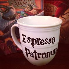 Harry Potter Coffee Mug Espresso Patronum Cup 14 oz Stoneware Mug ($13) ❤ liked on Polyvore featuring home, kitchen & dining, drinkware, harry potter, other, water cups, stoneware cups, white mugs, stoneware mugs and oz cup