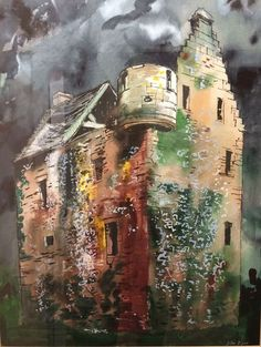 Beaux Arts Gallery - John Piper John Piper Western Braike Scotland 1983 Watercolour and Mixed Media 26 x 20 inches x cm) Architecture Artists, Gothic Architecture, John Piper Artist, Coventry Cathedral, Just Ink, Collage Art Mixed Media, Building Art, Royal College Of Art, Pastel Art