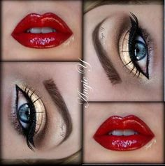 Red lips and gold eye makeup