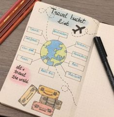 Four bullet journal spreads for addicts - dingbats * notebooks - medi . - great pictures Four Bullet Journal Spreads for Travel Addicts - Dingbats * Notebooks - Medi . Bullet Journal Voyage, Bullet Journal Spreads, Bullet Journal Travel, Bullet Journal 2020, Bullet Journal Aesthetic, Bullet Journal Notebook, Bullet Journal Inspo, Bullet Journal Layout, Journal Art