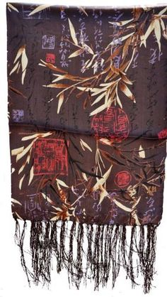 Chinese Brown Bamboo and Calligraphy Silk Scarf by Hinky Imports. $24.99. This beautiful Chinese silk scarf is decorated with traditional Chinese bamboo and calligraphy patterns. It is a great gift for any woman. Hand wash in cold water. Hang to dry.