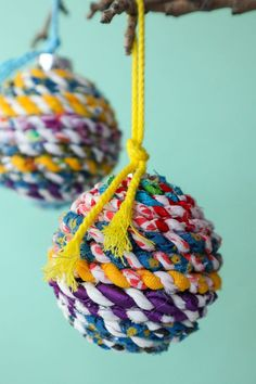 Scrap Fabric Twine Recycled Christmas Ornaments is part of Diy fabric crafts - Scrap Fabric Twine Recycled Christmas Ornaments Christmas Ornament Crafts, Christmas Baubles, Crafts To Sell, Diy And Crafts, Christmas Crafts, Recycled Christmas Decorations, Sell Diy, Summer Crafts, Decor Crafts