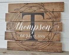 Welcome to the MRC Wood Products! We make custom family name signs and prints that are on the leading edge of both design and materials. For instance, the item in this listing is made with MDF which is made to look like individual planks. Your information is printed directly onto the