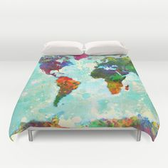 Abstract World Map Duvet Cover by Gary Grayson - $99.00