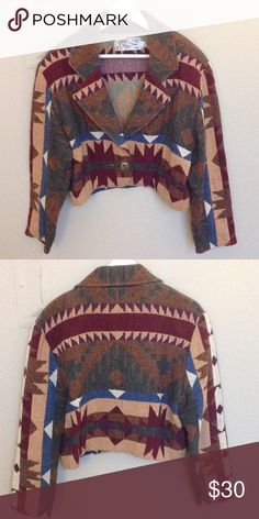 Vintage southwestern cropped jacket In great condition! Used to have big shoulder pads, but removed them. Measurements: shoulder to shoulder 19i. Underarm to underarm 22in length 19in Jackets & Coats