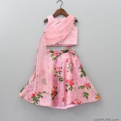 Pre Order: Rose Print Pink Ghagra And Top With Attached Dupatta Girls Frock Design, Kids Frocks Design, Baby Frocks Designs, Baby Dress Design, Indian Dresses For Kids, Kids Indian Wear, Kids Ethnic Wear, Baby Girl Dresses Fancy, Girls Dresses