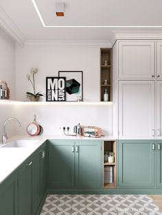 Two-tone cabinets (even the pantry), slim wooden inserts, single shelf, fun art, patterned floor | CARTELLE DESIGN