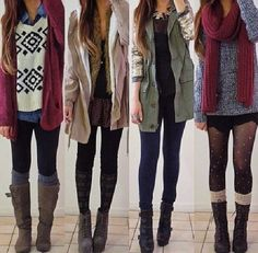 I need a trench, new scarf, black stockings, flat (more casual boots), long socks, big cardie. Love the look