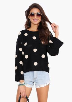 Polka Dot Sweater in Black