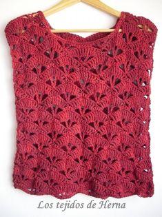T-shirt - muscular crochet knitted cotton sheath - Super knitting Débardeurs Au Crochet, Moda Crochet, Patron Crochet, Crochet World, Filet Crochet, Blog Crochet, Crochet Simple, Crochet Granny, Crochet Jacket