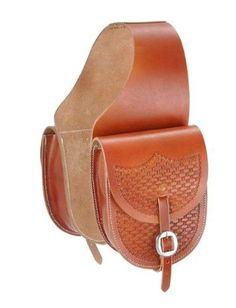 Tough 1 Leather Saddle Bag with Basket Stamp, Med. Leather Saddle Bags, Tan Leather, Leather Backpack, Leather Tooling, Bike Bag, Leather Carving, Round Bag, Horse Saddles, Western Saddles