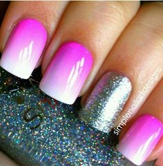 pink ombre and silver glitter