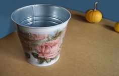 A big galvanized pot is decorated with decoupage technique. Delicate ornaments and flowers fit with its style to schabby shick decorations. Pot is a single copy, but I can ... #flowerpot #planter