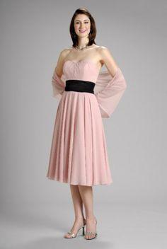 4a3c2304058f Pearl Short A-line Strapless Sash Chiffon Bridesmaid Dress 44.98 Modest  Shorts