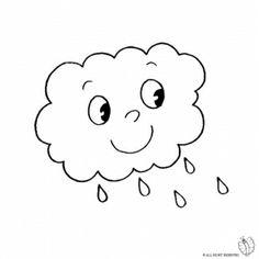 Disegno di Nuvola con Pioggia da colorare