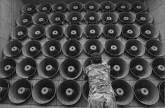 This is an array of loudspeakers installed in South Korea, near the border with North Korea, for shouting propaganda across the Demilitarized Zone.