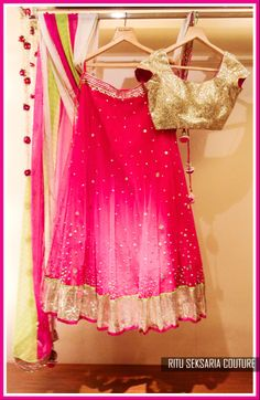 Pink and gold lehenga with a green dupata Gold Lehenga, Lehenga Choli, Sarees, Indian Lehenga, Anarkali, Indian Dresses, Indian Outfits, Chanya Choli, Ethnic Chic