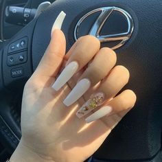 -originalaab - Nails White coffin nails with gold nails designs - Perfect Nails, Gorgeous Nails, Pretty Nails, White Coffin Nails, Coffin Nails Long, Pink Coffin, Black Nails, Aycrlic Nails, Gold Nails