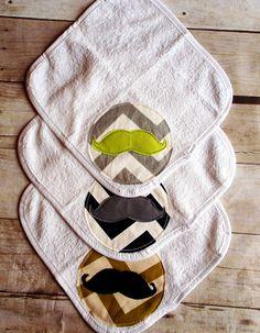 Baby mustache washcloth set of 3 in chevron patterns