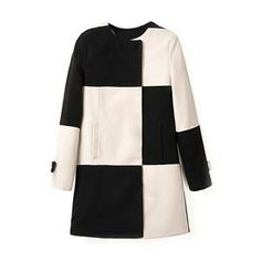 Black-white Check Long Sleeve Woolen Coat